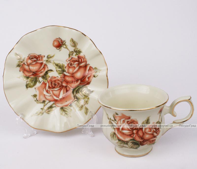 Чайная пара Cream Rose-103, чашка 220мл с блюдцем в подарочной коробке