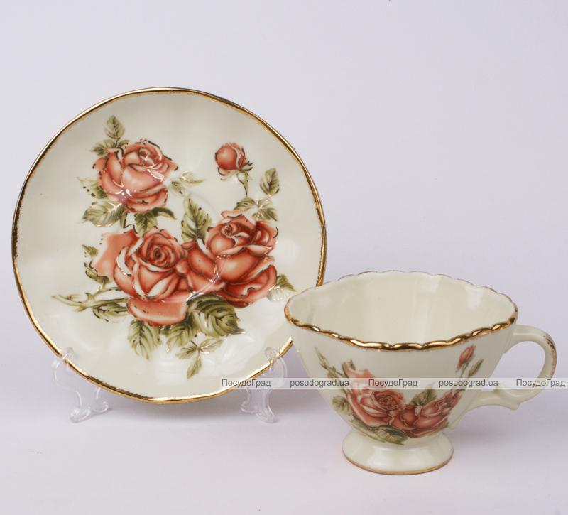 Чайная пара Cream Rose-107, чашка 220мл с блюдцем в подарочной коробке