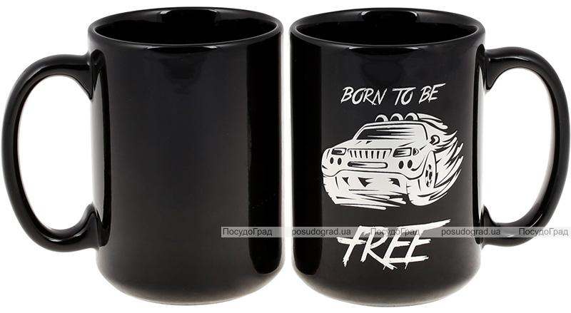 """Кружка керамічна """"Born to be free"""" 480мл, чорний зі сріблом"""