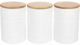 """Набор банок Merceyl """"Линии"""" 3 банки по 800мл керамические с бамбуковыми крышками"""