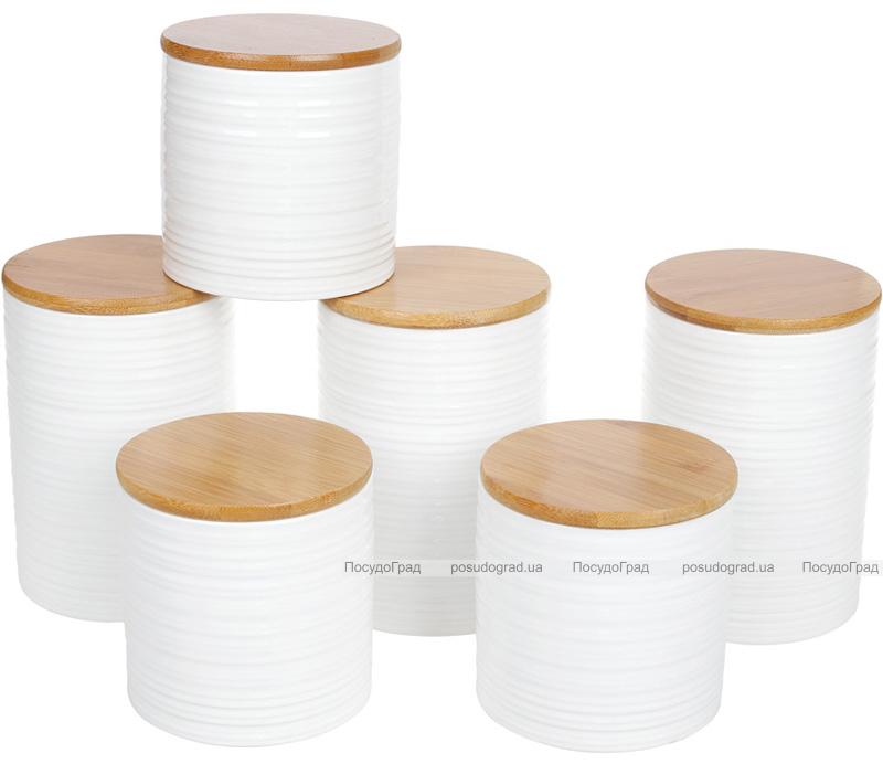 """Набор банок Merceyl """"Линии"""" 3 банки по 550мл керамические с бамбуковыми крышками"""