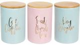 """Набір банок Merceyl """"Coffe Sugar Tea"""" 3 банки по 800мл керамічні з бамбуковими кришками, кольорові"""