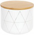 """Банка Merceyl """"Золоті Ромби"""" 1.1л керамічна з бамбуковою кришкою, біла"""