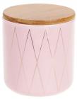 """Банка Merceyl """"Золоті Ромби"""" 600мл керамічна з бамбуковою кришкою, рожева"""