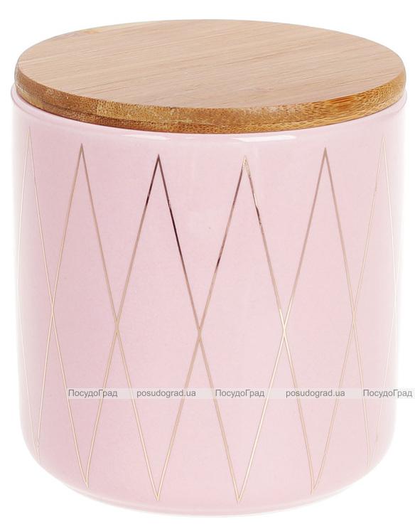 """Банка Merceyl """"Золотые Ромбы"""" 600мл керамическая с бамбуковой крышкой, розовая"""