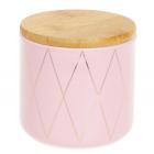 """Банка Merceyl """"Золотые Ромбы"""" 350мл керамическая с бамбуковой крышкой, розовая"""