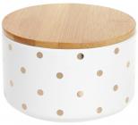 """Банка Merceyl """"Золотий Горох"""" 800мл керамічна з бамбуковою кришкою, біла"""