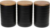 Набор 3 керамические банки «Lines» Black Style 800мл с бамбуковыми крышками