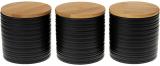 Набір 3 керамічні банки «Lines» Black Style 550мл з бамбуковими кришками