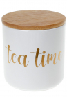 """Банка Merceyl """"Tea Time"""" 550мл керамічна з бамбуковою кришкою, біла"""