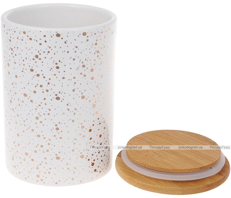 Банка Merceyl «Золоті Краплі» 650мл керамічна з бамбуковою кришкою, біла