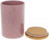 Банка Merceyl «Золотые Капли» 650мл керамическая с бамбуковой крышкой, розовая