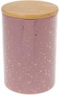 Банка Merceyl «Золоті Краплі» 650мл керамічна з бамбуковою кришкою, рожева