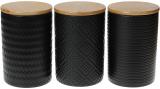 Набор 3 керамические банки «Modern» Black Style 800мл с бамбуковыми крышками