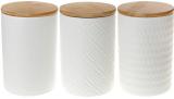 Набір 3 керамічні банки «Modern» White Style 800мл з бамбуковими кришками
