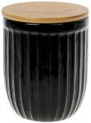 Банка керамическая «Corrugation» Black Style 700мл с бамбуковой крышкой