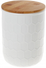 Банка керамічна «Honeycomb» White Style 1550мл з бамбуковою кришкою