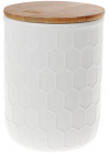 Банка керамічна «Honeycomb» White Style 870мл з бамбуковою кришкою