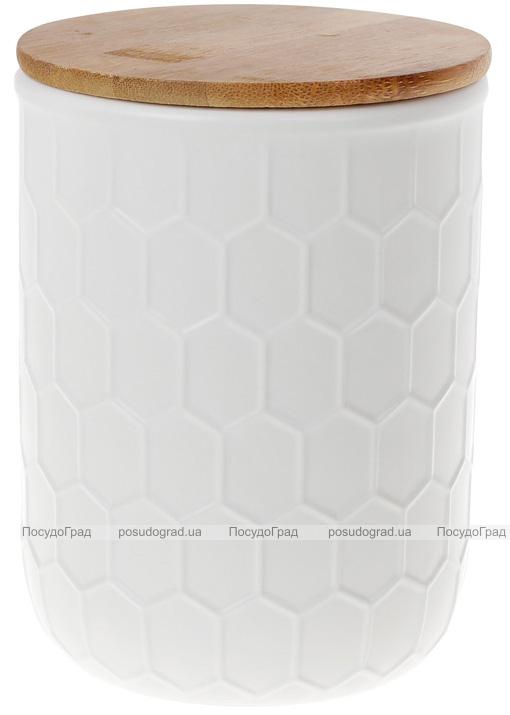 Банка керамическая «Honeycomb» White Style 870мл с бамбуковой крышкой