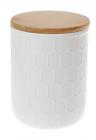 Банка керамическая «Honeycomb» White Style 450мл с бамбуковой крышкой