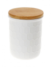 Банка керамічна «Honeycomb» White Style 130мл з бамбуковою кришкою