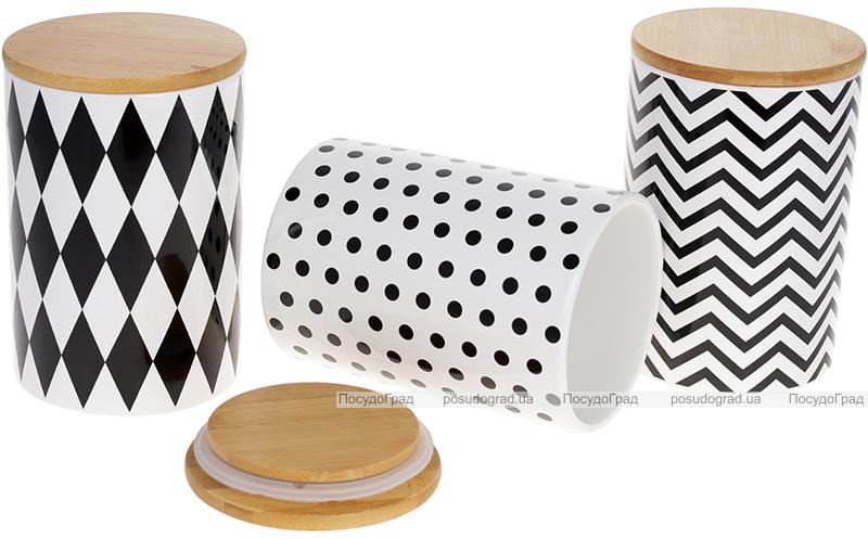 """Набір 3 банки Merceyl """"Геометрія"""" 650мл керамічні з бамбуковими кришками"""