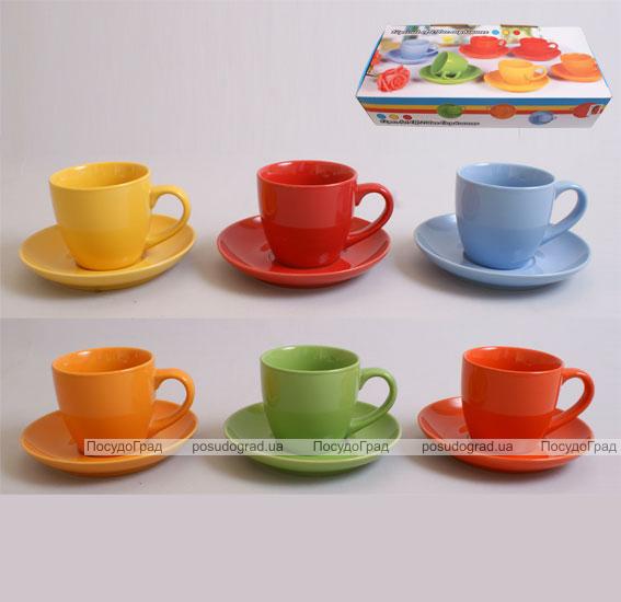 Набор чайный SABO Color 200мл 6 чашек и 6 блюдец