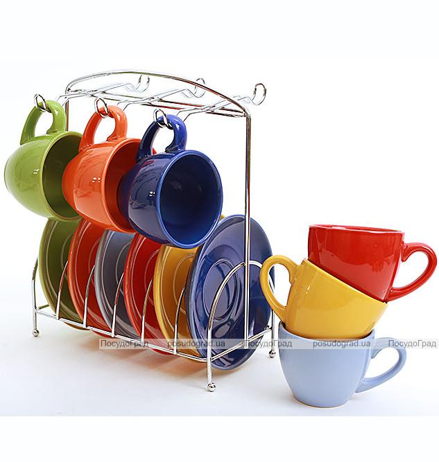 Набор кофейный SABO Color 100мл 6 чашек и 6 блюдец на подставке