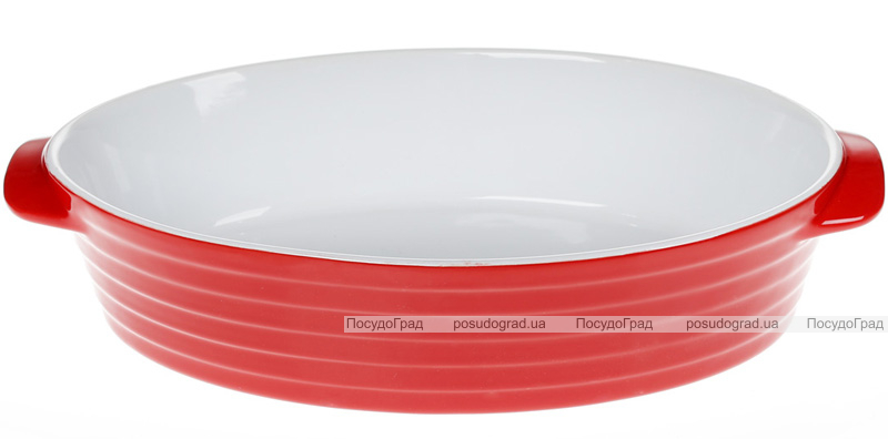 Форма для выпечки Augsburg керамическая 37х23х8.5см овальная с ручками (красная)