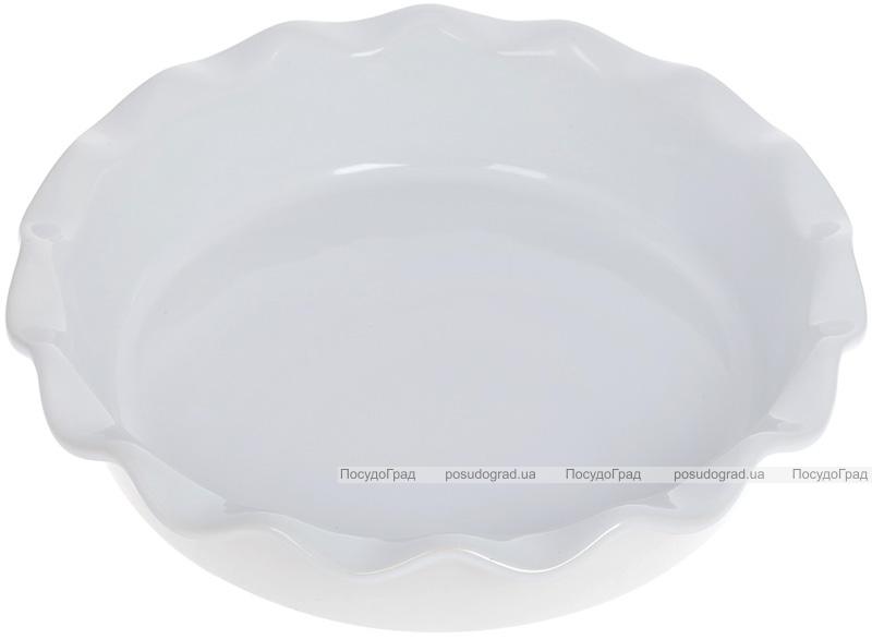 """Форма Augsburg """"Хвиля"""" кругла для випічки 25.5х6.3см керамічна (біла)"""