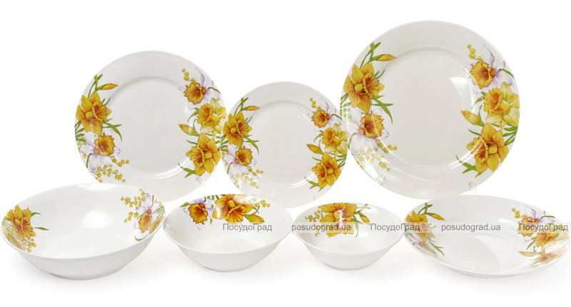 """Набор 6 фарфоровых десертных тарелок """"Нарцисс"""" Ø19см"""