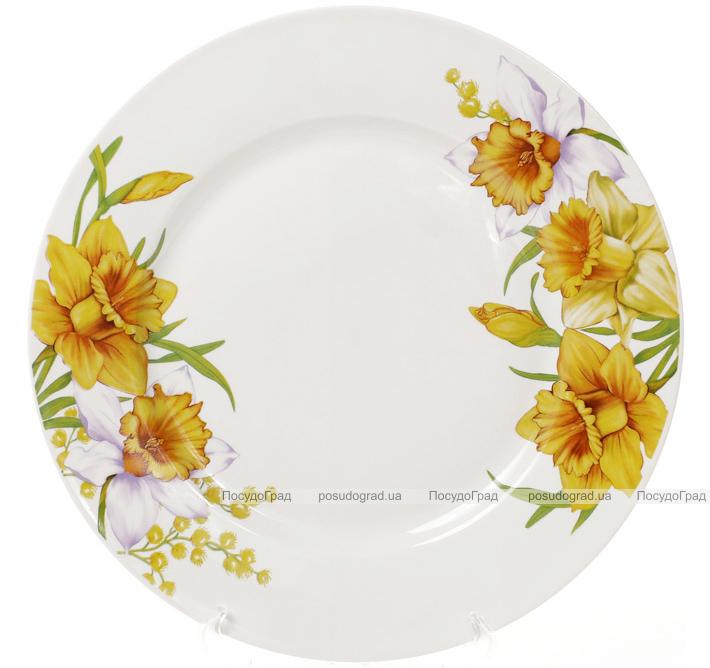 """Набор 6 фарфоровых обеденных тарелок """"Нарцисс"""" Ø23см"""