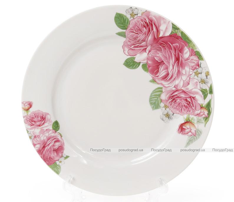 """Набор 6 фарфоровых десертных тарелок """"Розовые розы"""" Ø19см"""