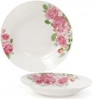 """Набор 6 фарфоровых суповых тарелок """"Розовые розы"""" Ø23см, порционные"""