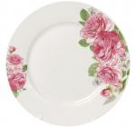 """Набор 6 фарфоровых обеденных тарелок """"Розовые розы"""" Ø23см"""