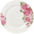 """Набор 6 фарфоровых обеденных тарелок """"Розовые розы"""" Ø27см"""