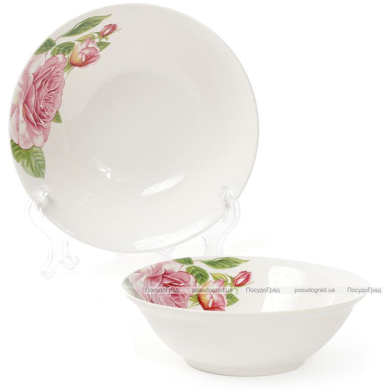 """Набор 6 фарфоровых салатниц """"Розовые розы"""" 350мл Ø14см"""