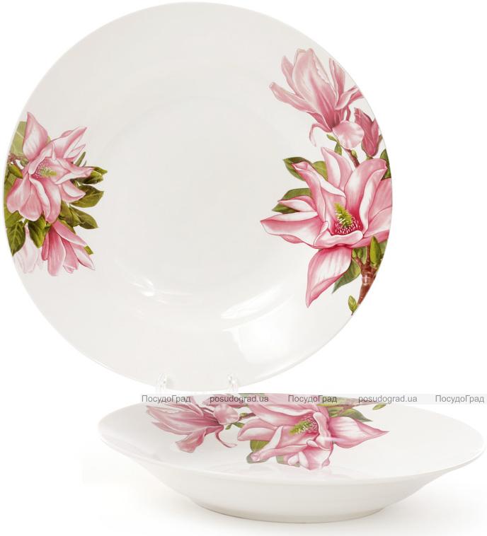 """Набор 6 фарфоровых суповых тарелок """"Магнолия"""" Ø23см, порционные"""