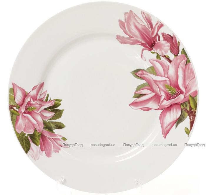 """Набор 6 фарфоровых обеденных тарелок """"Магнолия"""" Ø23см"""