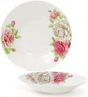 """Набор 6 фарфоровых суповых тарелок """"Чайная роза"""" Ø23см, порционные"""