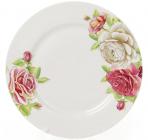 """Набор 6 фарфоровых обеденных тарелок """"Чайная роза"""" Ø23см"""
