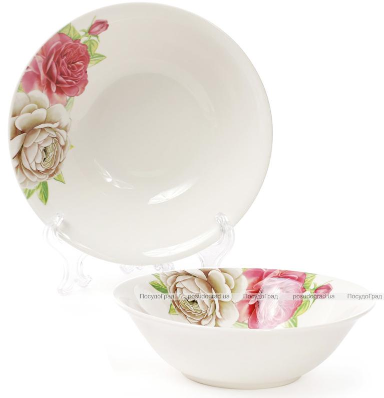 """Набор 6 фарфоровых салатниц """"Чайная роза"""" 650мл Ø17.8см"""