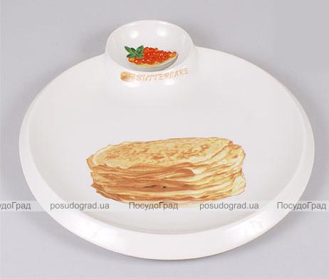 Тарелка Bona для блинов Ø34см с пиалой для икры, соусов или варенья
