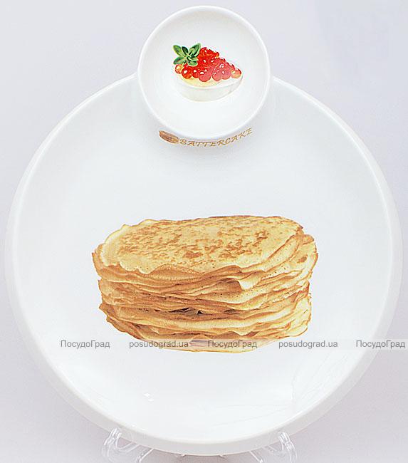 Тарелка Bona для блинов Ø28см с пиалой для икры, соусов или варенья