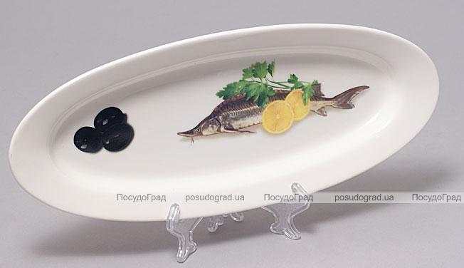 """Блюдо для рыбы Sea Food """"Оливки, зелень, лимон"""" овальное 30х12см"""