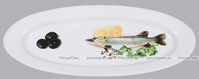 """Блюдо для рыбы Sea Food """"Оливки, лимон, зелень"""" овальное 30х12см"""
