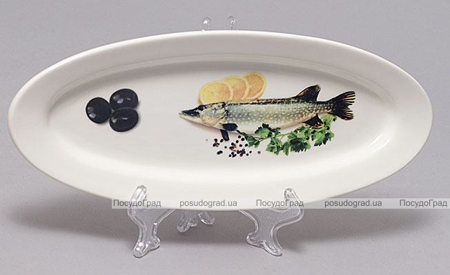 """Блюдо для рыбы Sea Food """"Оливки, лимон, зелень"""" овальное 26х10см"""