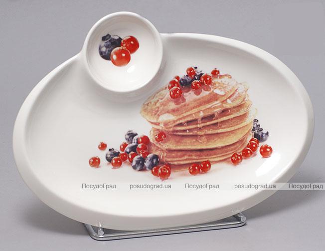 Тарелка Bona для блинов овальное 30х21см с пиалой для икры, соусов или варенья