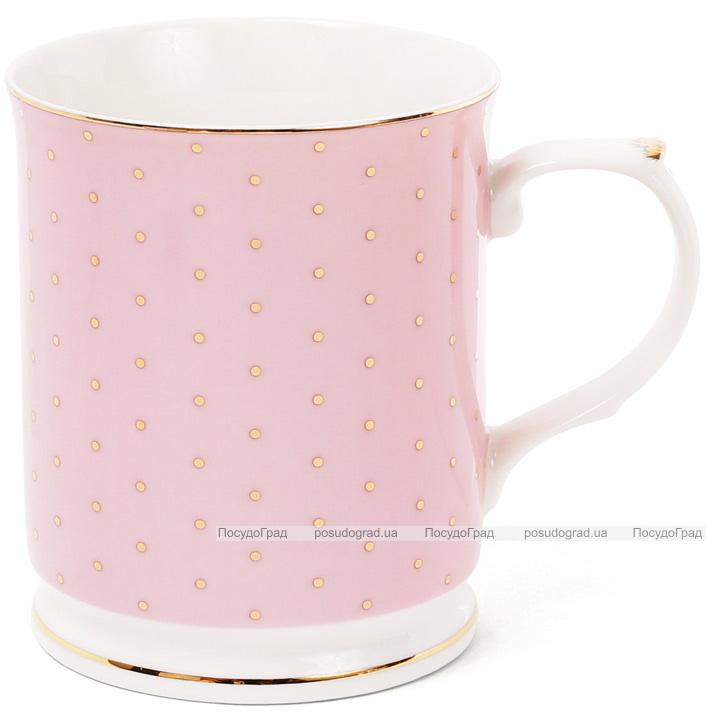 """Кружка (чашка) Golden Iris """"Розовая в золотой горох"""" 400мл"""