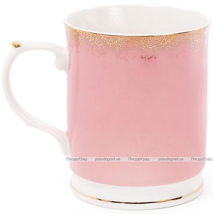 """Кружка (чашка) Golden Iris """"Розовая с золотой россыпью"""" 400мл"""